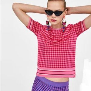 Zara Knit Gingham Pink Check Varsity Stripe Top